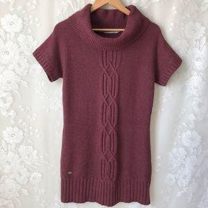 Athleta Purple Cowl Neck Sweater Dress Short Slv S